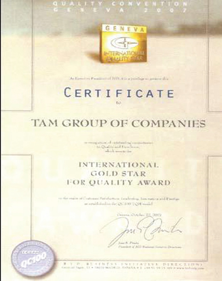 TAM Group Certificate